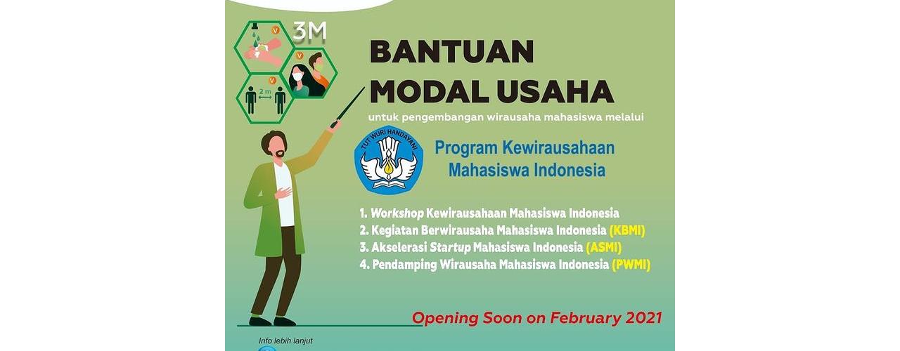 Program Kewirausahaan Mahasiswa Indonesia 2021 akan segera dibuka
